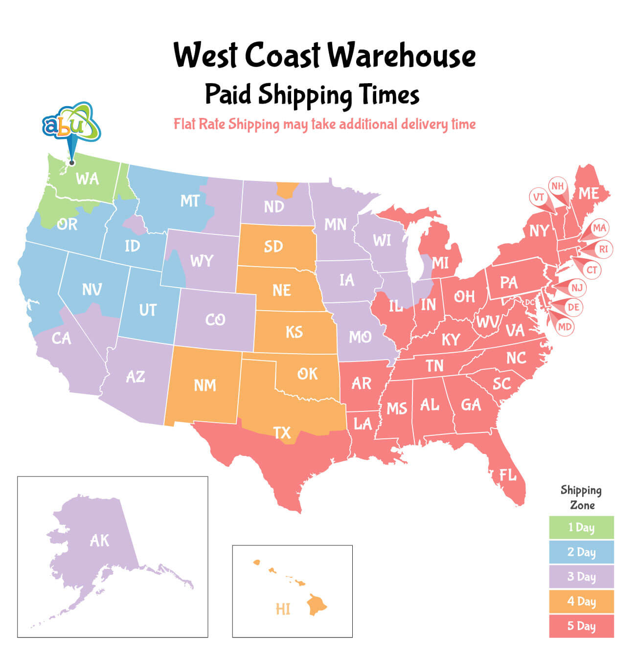 West Coast Shipping Times Map