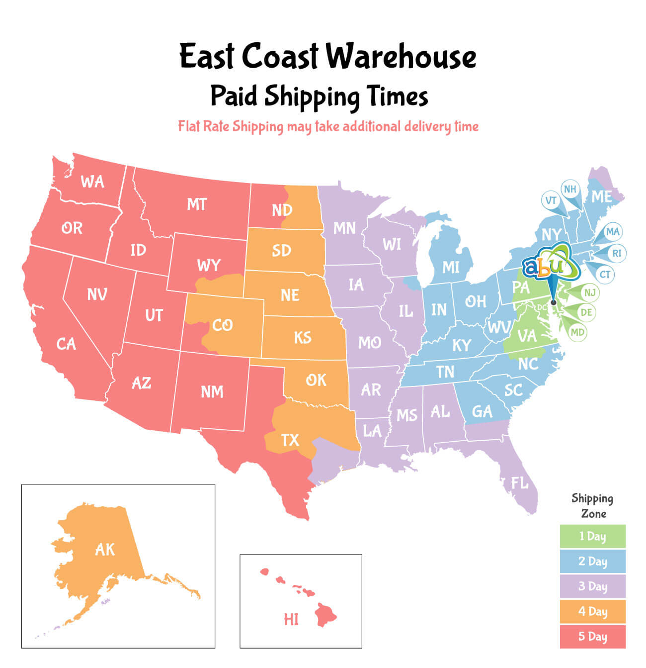 East Coast Shipping Times Map